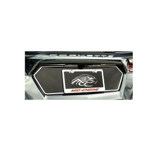 20-21 Tag Back Trim Plate - Carbon Fiber w/Brushed Stainless Trim