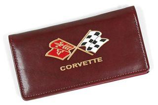 Italian Burgundy Leather Checkbook Cover w/Cross Flags Emblem