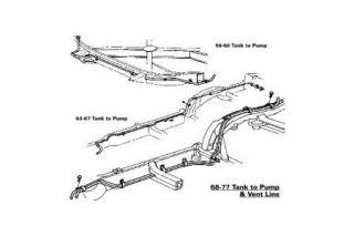 1968-1974 Corvette Gas Tank RH Fuel Return Frame Line