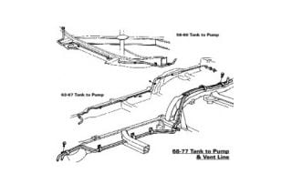 1968 Cprvette Gas Tank to Fuel Pump Frame Line (Stainless)