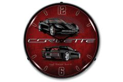C7 Black Corvette Lighted Wall Clock