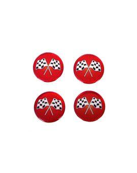 73-82 Aluminum Wheel Spinner Emblems - Cross Flag Red