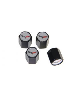 05-13 C6 Emblem Valve Stem Caps (Black) (Default)