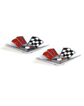 1963L-1966 Corvette Side Cross Flag Emblems (Repro - Orange Flags)