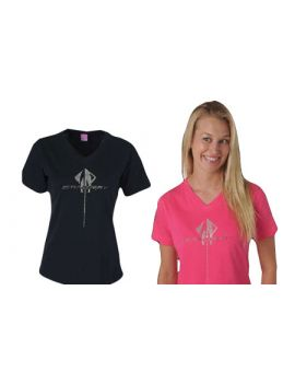 C7 Corvette Stingray Rhinestone Ladies V-Neck Tee
