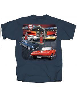 Mid-Year Corvette Garage Blue T-shirt