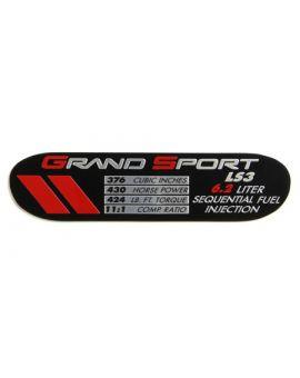 2010-2013 Corvette Grand Sport LS3 Engine ID Spec Plate