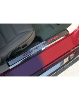 05-13 Stainless Executive Inner Door Sill Covers w/Corvette Inlay