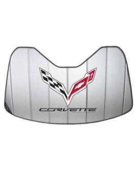 14-18 Accordion Style Sunshade w/Corvette Emblem (Default)