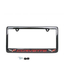 05-13 Carbon Fiber License Plate Frame w/Double C6 Emblem
