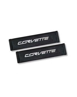 Corvette Seat Belt Pads w/C7 Corvette Script