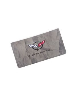 Domestic Grey Leather Checkbook Cover w/C5 Emblem