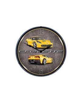 C7 Velocity Yellow Corvette Lighted Wall Clock