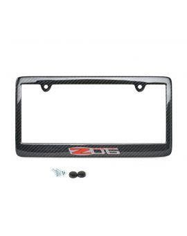 06-13 Carbon Fiber License Plate Frame w/Z06 Emblem
