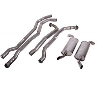 "74 350 L82 Auto 2-2 1/2"" Exhaust System w/Round Mufflers"
