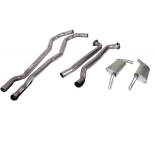 """74 350 L48 Manual 2"""" Exhaust System w/""""Tuck-Under"""" Oval Mufflers"""