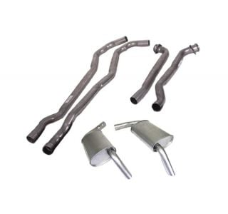 "74 454 Manual 2 1/2"" Exhaust System w/""Tuck-Under"" Oval Mufflers"