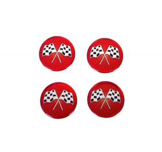 73-82 Aluminum Wheel Spinner Emblems - Cross Flag Red