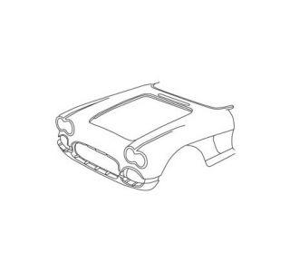 1958-1961 Corvette One-Piece Fiberglass Front End Assembly (HL)