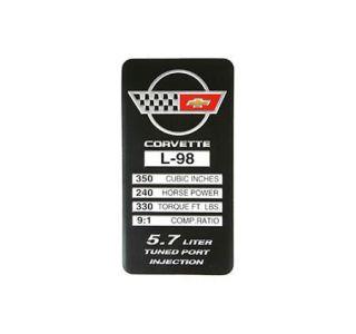 1988-1989 Corvette L98 Console Specifications Plate