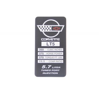 91-92 LT5 Console Specifications Plate