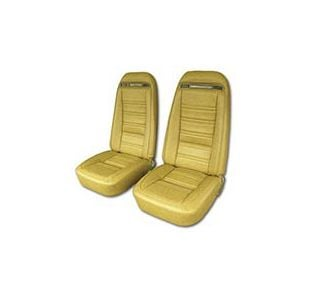 978 Pace & 1979-1982 Corvette Seat Covers (Original Style Leather w/Vinyl Skirts) In Saddle
