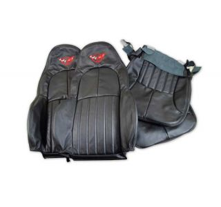 1997-2004 Corvette STD 100% Leather Seat Covers w/Embroidered Emblem