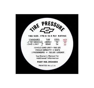 1968-1972 Corvette Tire Pressure Decal