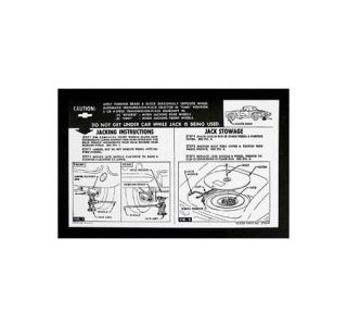 1961-1962 Corvette Jacking Instructions Decal