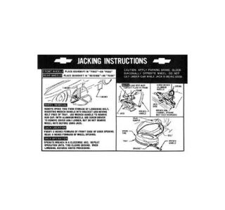 1967 Corvette Jacking Instructions Decal