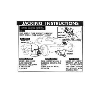 1963-1966 Corvette NO3 & STD Wheels Jacking Instructions Decal