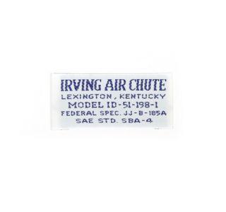 "1962M-1962L Corvette Seat Belt Label ""Irving Air Chute"""