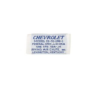 "1962L-1963E Corvette Seat Belt Label ""Chevrolet"""