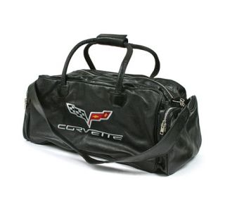 "C6 Corvette Embroidered Leather 24"" Duffel Bag"