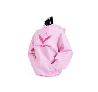 Ladies C7 Corvette Pink Hooded Sweatshirt