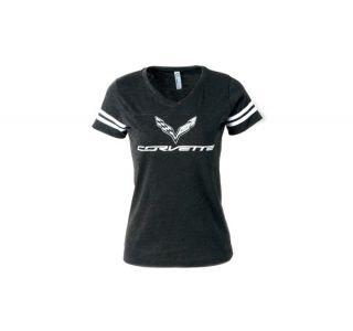 Ladies C7 Corvette Football Jersey Tee