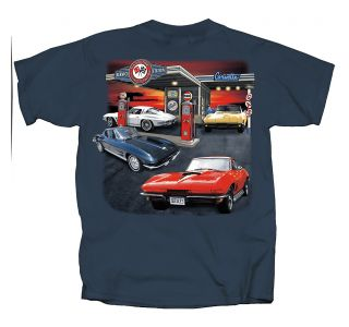 Mid-Year Corvette Garage Blue T-shirt