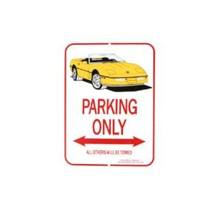 1984-1996 Corvette Yellow Convertible Parking Sign
