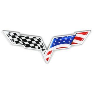 """2005-2013 Corvette C6 Emblem Flag """"3D Domed"""" Overlay Kit"""
