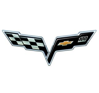 Corvette 100th Emblem Metal Sign (large)