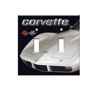 White Corvette Plate Cover