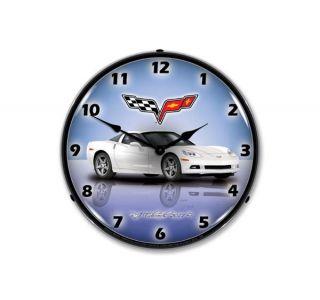 C6 Arctic White Corvette Lighted Clock