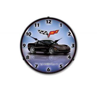 C6 Black Corvette Lighted Clock