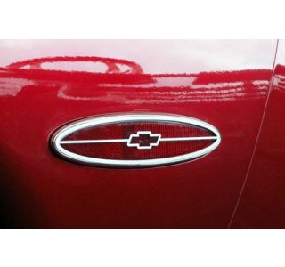 """1997-2004 Corvette Stainless Side Marker Bezels w/""""Chevy Bowtie"""""""