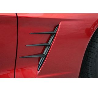 2005-2013 Corvette Blakk Stealth Side Fender Spears w/Perforated Grills