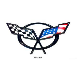 1997-2004 Corvette C5 Emblem American Flag Overlay