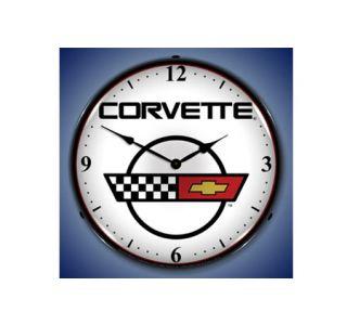 C4 Corvette Emblem Lighted Clock