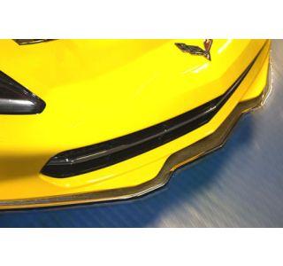 14-18 Stainless Front Lip spoiler w/Carbon-Fiberglass Overlay & Corvette Script (Default)