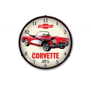 1959 Red Corvette Lighted Wall Clock