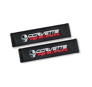 Corvette Seat Belt Pads w'C7 Corvette Racing Emblem